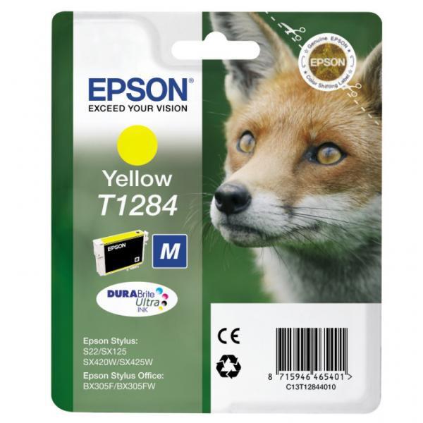 Epson originální ink blistr, C13T12844021, T1284, yellow, 3,5ml, Epson Stylus S22, SX125, 420W, 425W, Stylus Office BX305