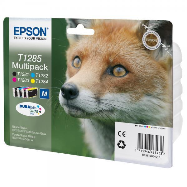 Epson originální ink C13T12854010, T1285, CMYK, 16,4ml, Epson Stylus S22, SX125, 420W, 425W, Stylus Office BX305