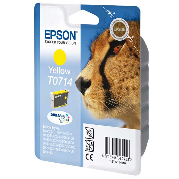 Epson originální ink C13T07144011, yellow, 405str., 5,5ml, Epson D78, DX4000, DX4050, DX5000, DX5050, DX6000, DX605