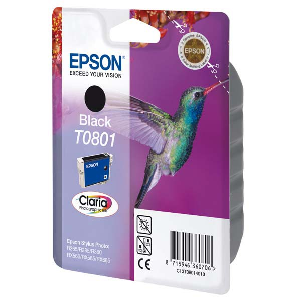 Epson originální ink blistr s ochranou, C13T08014021, black, 7,4ml, Epson Stylus Photo PX700W, 800FW, R265, 285, 360, RX560
