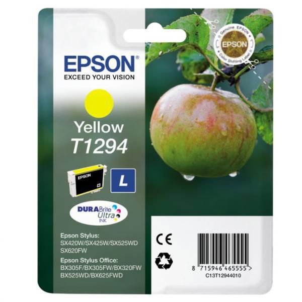 Epson originální ink blistr, C13T12944021, T1294, yellow, 485str., 7ml, Epson Stylus SX420W, 425W, Stylus Office BX305F, 320FW