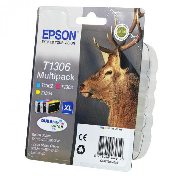 Epson originální ink blistr, C13T13064020, T1306, cyan/magenta/yellow, 30,3ml, Epson Stylus Office BX320FW