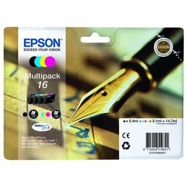 Epson originální ink C13T16264010, T162640, CMYK, 3x3.1/5.4ml, Epson WorkForce WF-2540WF, WF-2530WF, WF-2520NF, WF-2010