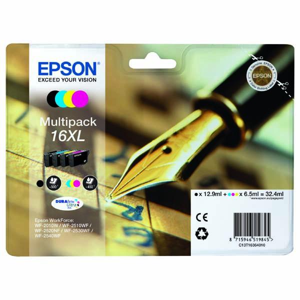 Epson originální ink C13T16364010, T163640, 16XL, CMYK, 3x6.5/12.9ml, Epson WorkForce WF-2540WF, WF-2530WF, WF-2520NF, WF-2010