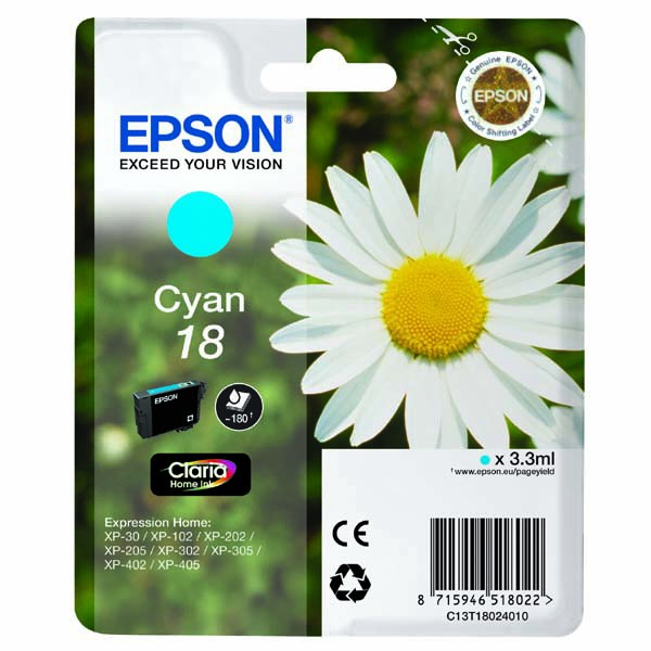 Epson originální ink C13T18024010, T180240, cyan, 3,3ml, Epson Expression Home XP-102, XP-402, XP-405, XP-302