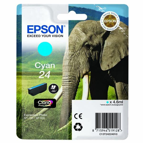 Epson originální ink C13T24224010, T2422, cyan, 4,6ml, Epson