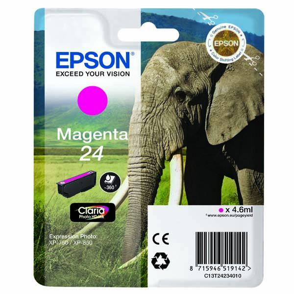 Epson originální ink C13T24234010, T2423, magenta, 4,6ml, Epson