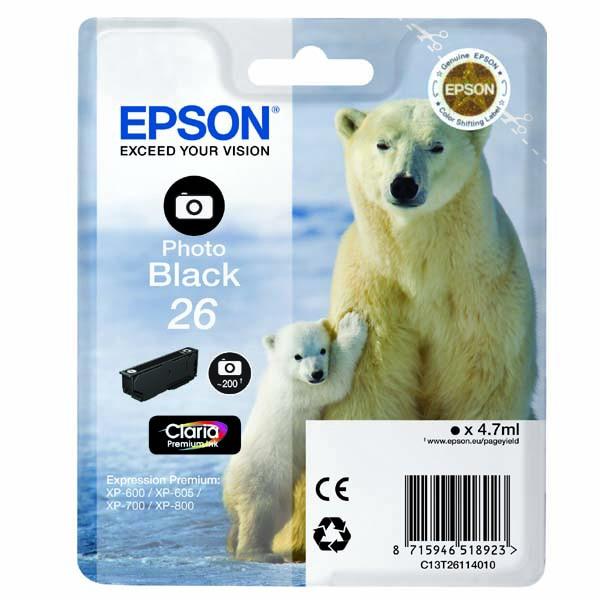 Epson originální ink C13T26114010, T261140, photo black, 4,7ml, Epson Expression Premium XP-800, XP-700, XP-600