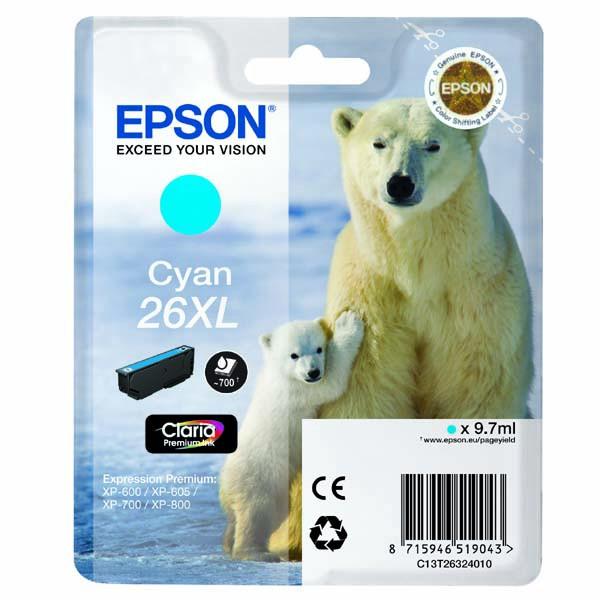 Epson originální ink C13T26324010, T263240, 26XL, cyan, 9,7ml, Epson Expression Premium XP-800, XP-700, XP-600