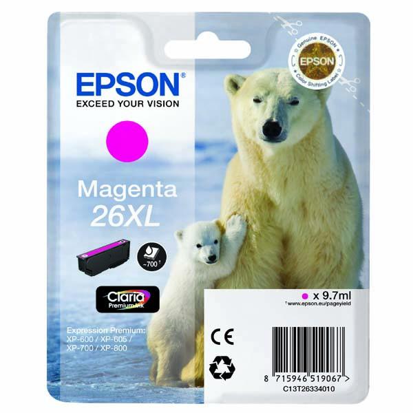 Epson originální ink C13T26334010, T263340, 26XL, magenta, 9,7ml, Epson Expression Premium XP-800, XP-700, XP-600