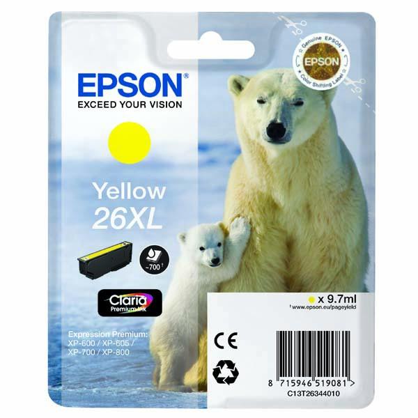 Epson originální ink C13T26344020, T263440, 26XL, yellow, 9,7ml, Epson Expression Premium XP-800, XP-700, XP-600