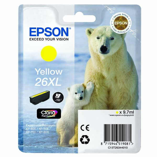 Epson originální ink C13T26344010, T263440, 26XL, yellow, 9,7ml, Epson Expression Premium XP-800, XP-700, XP-600
