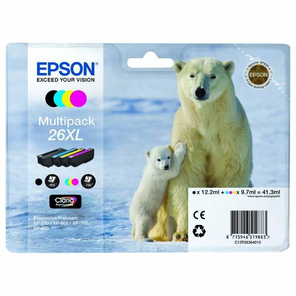 Epson originální ink C13T26364020, T263640, 26XL, CMYK, 3x9,7/12,2ml, Epson Expression Premium XP-800, XP-700, XP-600