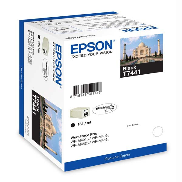 Epson originální ink C13T74414010, black, 10000str., 181ml, high capacity, Epson WorkForce Pro WP-M4525 DNF, WP-M4015 DN