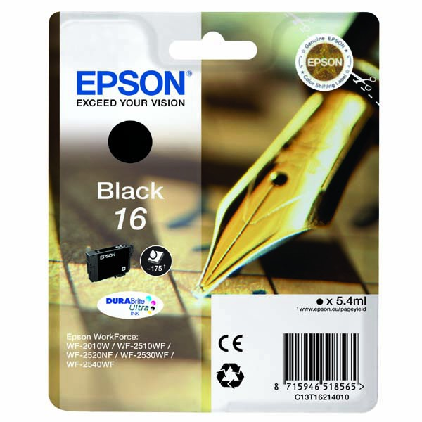 Epson originální ink C13T16214020, T162140, black, 5.4ml, Epson WorkForce WF-2540WF, WF-2530WF, WF-2520NF, WF-2010