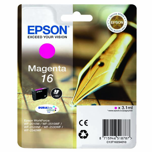 Epson originální ink C13T16234020, T162340, magenta, 3.1ml, Epson WorkForce WF-2540WF, WF-2530WF, WF-2520NF, WF-2010