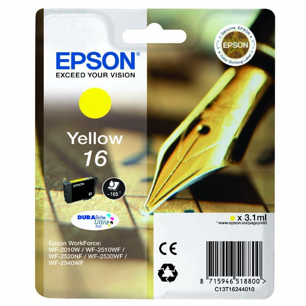 Epson originální ink C13T16244020, T162440, yellow, 3.1ml, Epson WorkForce WF-2540WF, WF-2530WF, WF-2520NF, WF-2010