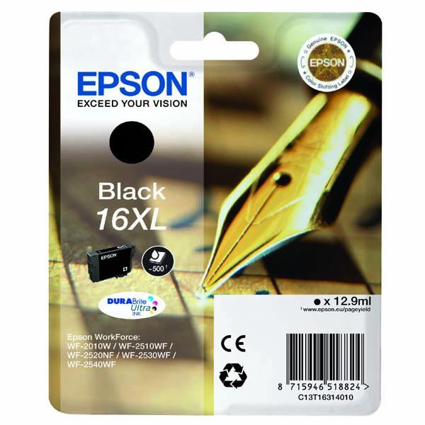 Epson originální ink C13T16314020, T163140, 16XL, black, 12.9ml, Epson WorkForce WF-2540WF, WF-2530WF, WF-2520NF, WF-2010