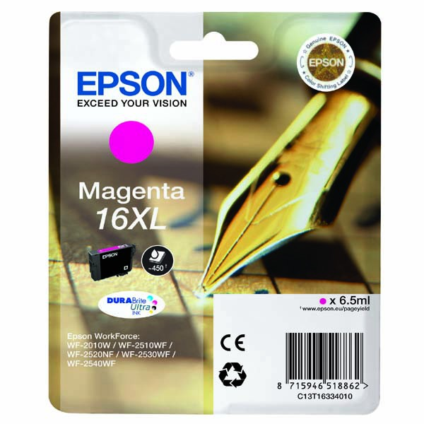 Epson originální ink C13T16334020, T163340, 16XL, magenta, 6.5ml, Epson WorkForce WF-2540WF, WF-2530WF, WF-2520NF, WF-2010