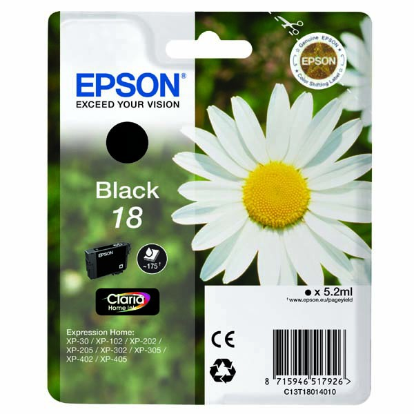 Epson originální ink C13T18014010, T180140, black, 5,2ml, Epson Expression Home XP-102, XP-402, XP-405, XP-302