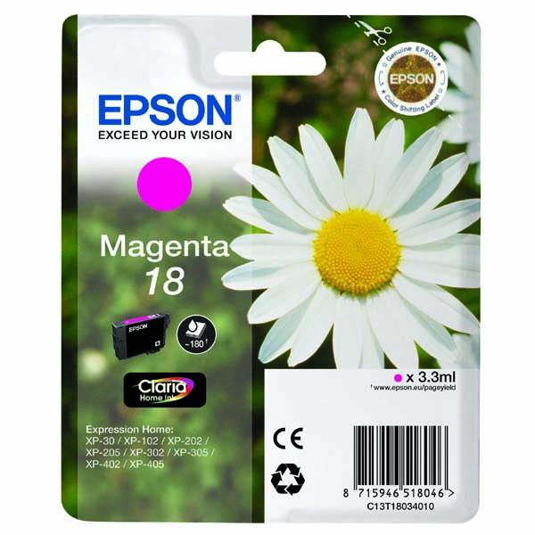Epson originální ink C13T18034020, T180340, magenta, 3,3ml, Epson Expression Home XP-102, XP-402, XP-405, XP-302