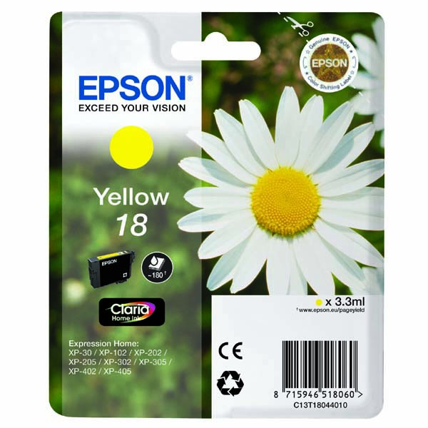 Epson originální ink C13T18044020, T180440, yellow, 3,3ml, Epson Expression Home XP-102, XP-402, XP-405, XP-302