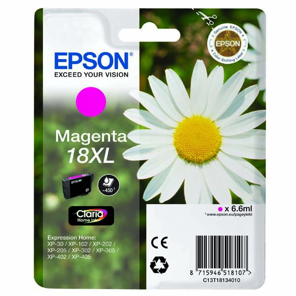 Epson originální ink C13T18134010, T181340, 18XL, magenta, 6,6ml, Epson Expression Home XP-102, XP-402, XP-405, XP-302