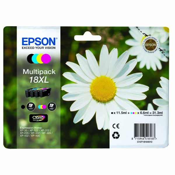 Epson originální ink C13T18164010, T181640, 18XL, CMYK, 3x6,6/11,5ml, Epson Expression Home XP-102, XP-402, XP-405, XP-302
