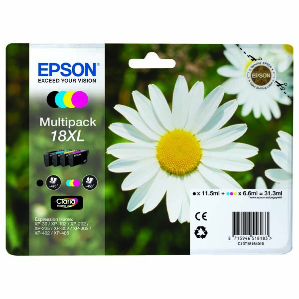 Epson originální ink C13T18164020, T181640, 18XL, CMYK, 3x6,6/11,5ml, Epson Expression Home XP-102, XP-402, XP-405, XP-302