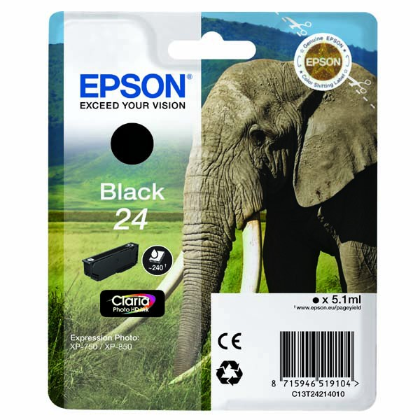 Epson originální ink C13T24214010, T2421, black, 5,1ml, Epson