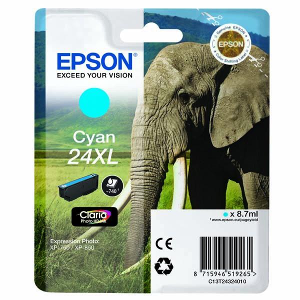 Epson originální ink C13T24324010, T2432, cyan, 8,7ml, Epson
