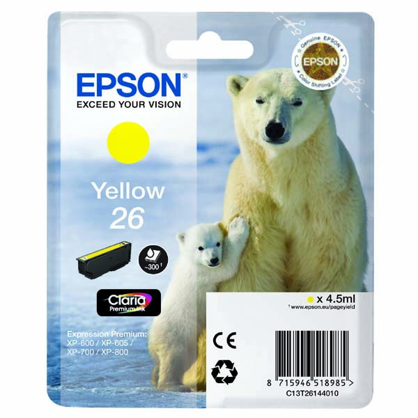 Epson originální ink C13T26144010, T261440, yellow, 4,5ml, Epson Expression Premium XP-800, XP-700, XP-600