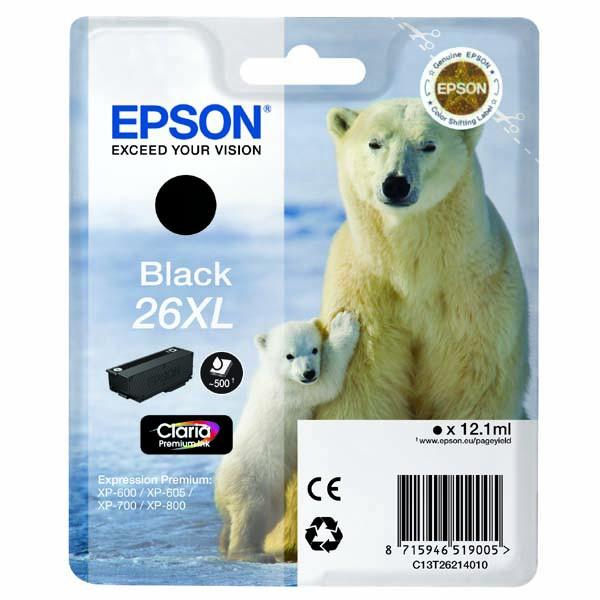 Epson originální ink C13T26214020, T262140, 26XL, black, 12,2ml, Epson Expression Premium XP-800, XP-700, XP-600