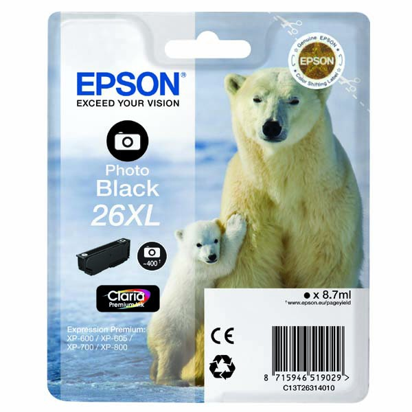 Epson originální ink C13T26314010, T263140, 26XL, photo black, 8,7ml, Epson Expression Premium XP-800, XP-700, XP-600