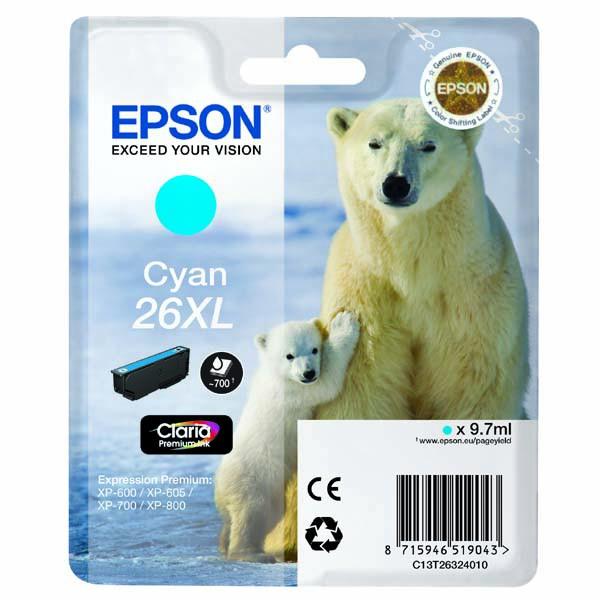Epson originální ink C13T26324020, T263240, 26XL, cyan, 9,7ml, Epson Expression Premium XP-800, XP-700, XP-600