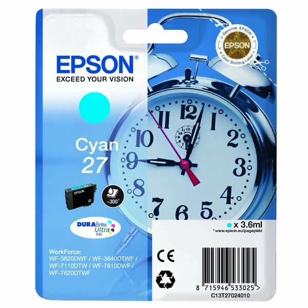 Epson originální ink C13T27024020, 27, cyan, 3,6ml, Epson WF-3620, 3640, 7110, 7610, 7620