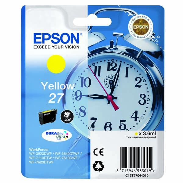 Epson originální ink C13T27044020, 27, yellow, 3,6ml, Epson WF-3620, 3640, 7110, 7610, 7620