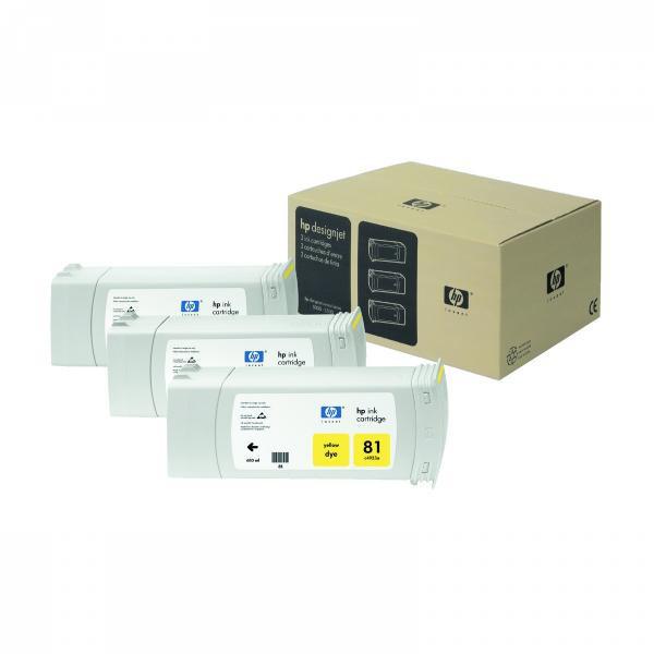 HP originální ink C5069A, No.81, yellow, 3x680ml, 3ks, HP DesignJet 5000, PS, UV, 5500, PS