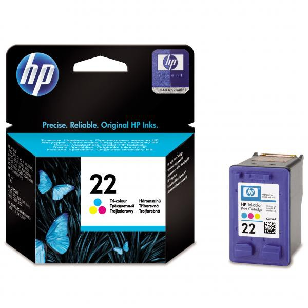 HP originální ink C9352AE, No.22, color, 138str., 5ml, HP PSC-1410, DeskJet F380, D2300, OJ-4300, 5600