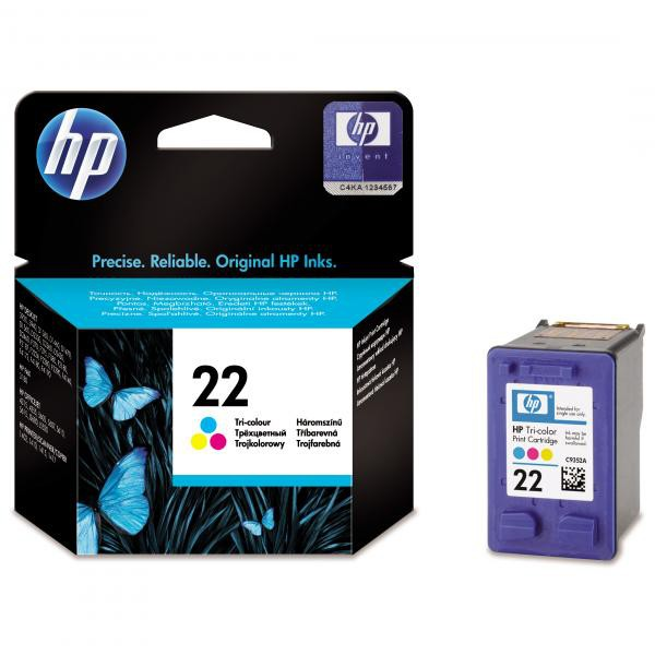 HP originální ink C9352AE, HP 22, color, blistr, 138str., 5ml, HP PSC-1410, DeskJet F380, D2300, O