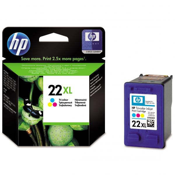 HP originální ink C9352CE, No.22XL, color, 415str., 11ml, HP PSC-1410, DeskJet F380, D2300, OJ-4300, 5600