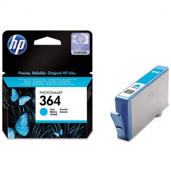 HP originální ink CB318EE, HP 364, cyan, blistr, 300str., HP Photosmart B8550, C5380, D5460