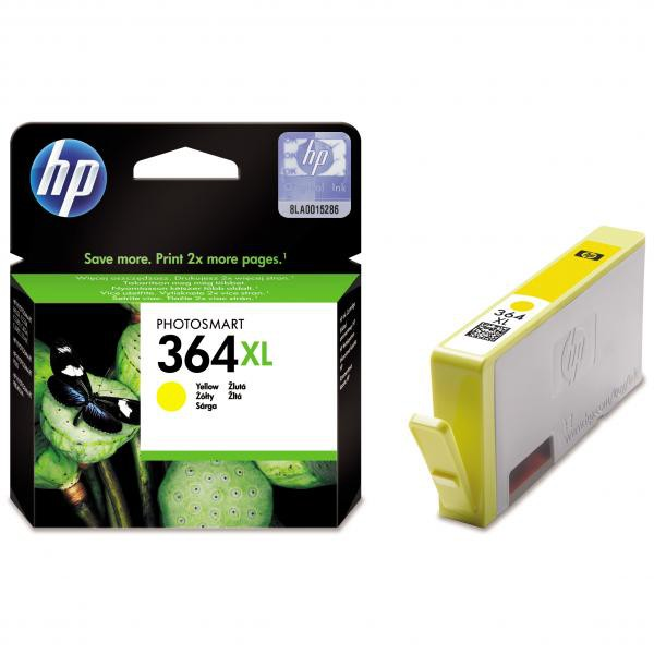 HP originální ink CB325EE, No.364XL, yellow, 750str., HP Photosmart B8550, C5380, D5460
