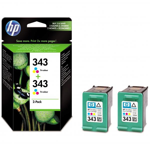 HP originální ink CB332EE, No.343, color, 520 (2x260)str., 2x7ml, HP 2-Pack, C8766EE, PSC-1610, OJ-6210, DeskJet 6840