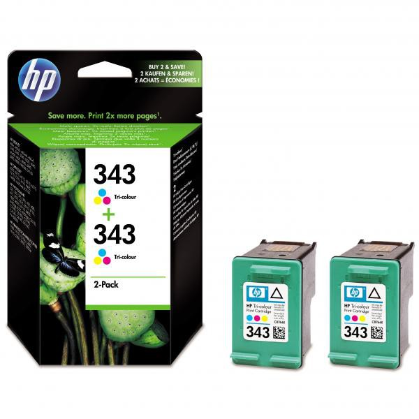 HP originální ink blistr, CB332EE#301, No.343, color, 520 (2x260)str., 2x7ml, HP 2-Pack, C8766EE, PSC-1610, OJ-6210, DeskJet 6840