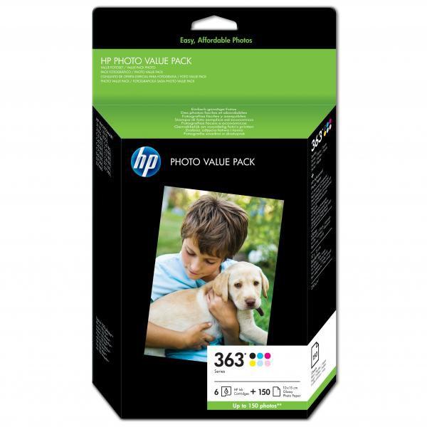 HP originální ink Q7966EE, No.363, color, 150str., HP Set 6 kazet No.363 + Paper 10 x 15 cm, 150 listů, černá v menší kapacitě, Pr