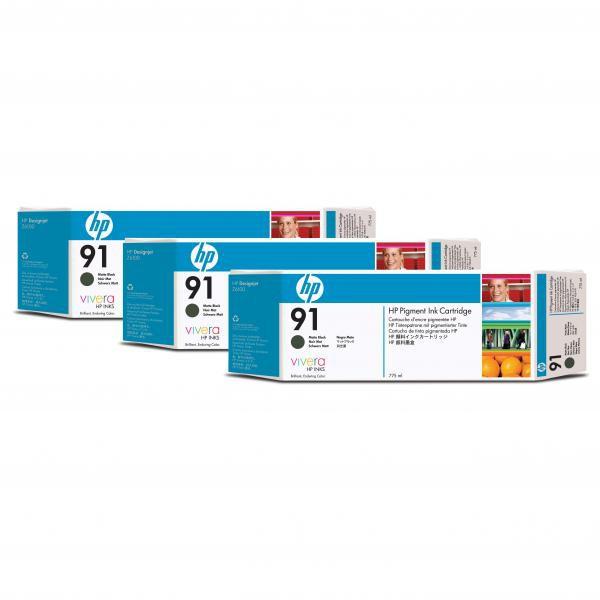 HP originální ink C9480A, No.91, matte black, 775ml, 3ks, HP Designjet Z6100, Designjet Z6100ps