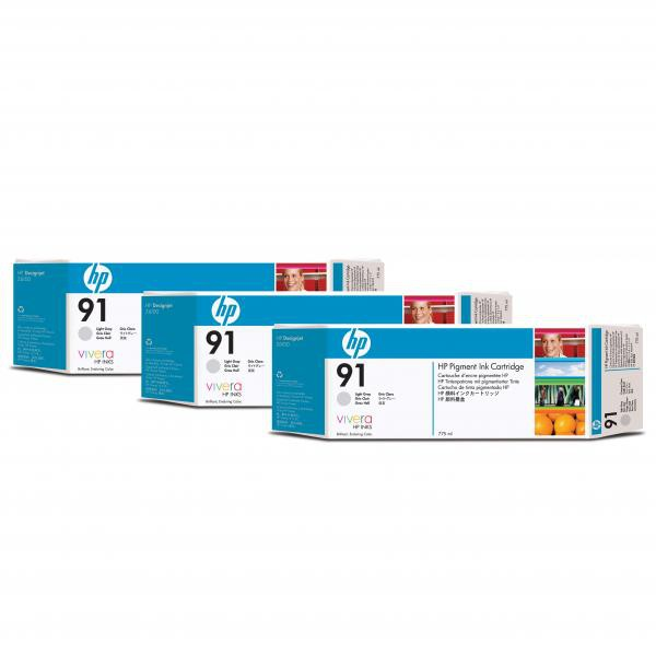 HP originální ink C9482A, No.91, light grey, 775ml, 3ks, HP Designjet Z6100, Designjet Z6100ps