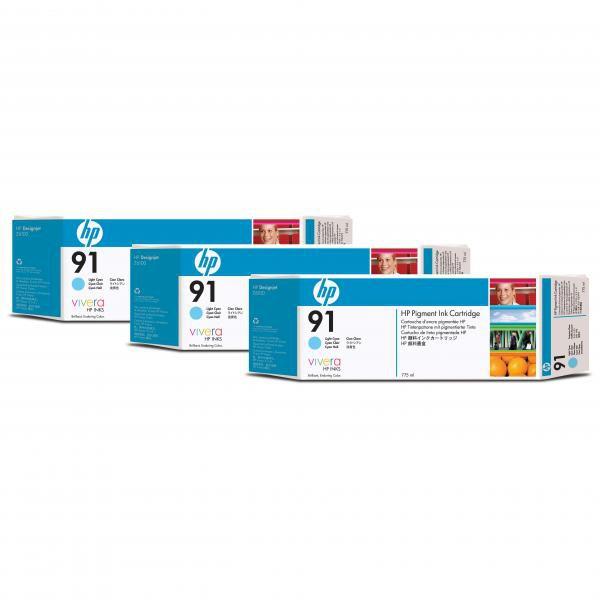 HP originální ink C9486A, No.91, light cyan, 775ml, 3ks, HP Designjet Z6100, Designjet Z6100ps