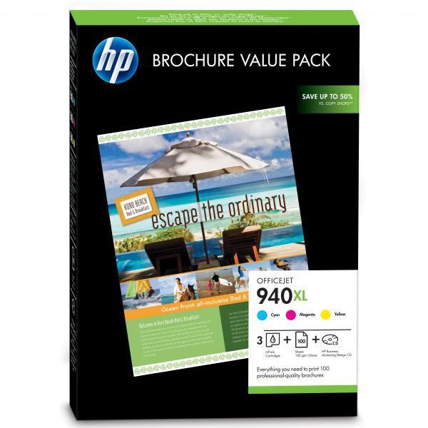 HP originální ink CG898AE, cyan/magenta/yellow, 100ks, HP Officejet 940XL + HP Superior Inkjet Paper